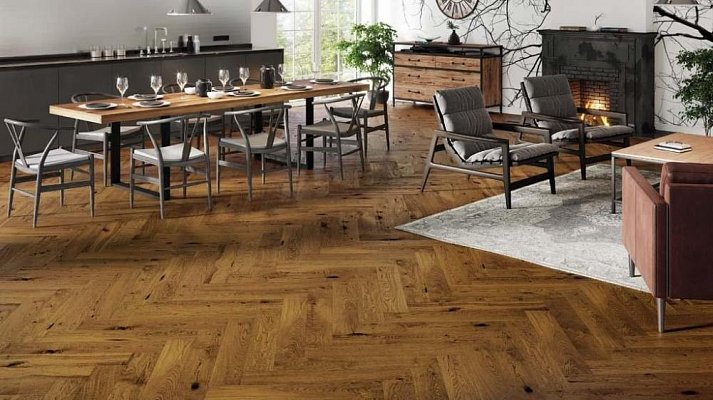 Dřevěná podlaha Barlinek Pure Classico - Dub Brown Sugar Herringbone 5G