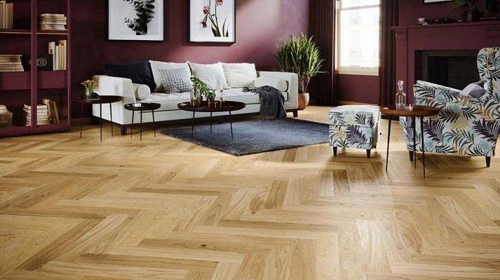 Dřevěná podlaha Barlinek Pure Classico - Dub Bright Herringbone