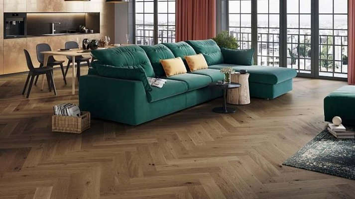 Dřevěná podlaha Barlinek Pure Classico - Dub Toffee Herringbone 5G